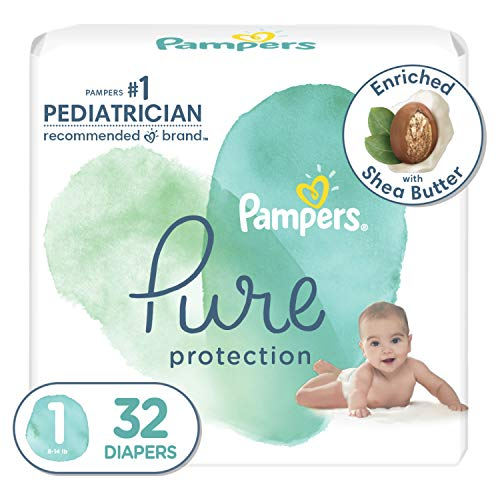 Diapers Newborn/Size 1 (8-14 lb), 32 Count - Pampers Pure Protection Disposable Baby Diapers, Hypoallergenic and Unscented Protection, Jumbo Pack