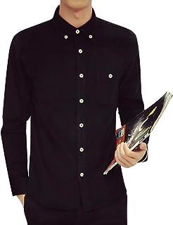 [Balle・de・riz(バールドリズ)] カジュアルシャツ トップス ボタンダウン ベーシックカラー ビジネス 長袖 メンズ