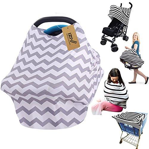 iZiv Ultrasoft 4-en-1 Multi-usan Algodón Enfermería Lactancia Materna, Baby Set de Coche para Toldo Carrito de la Compra Cubierta Swaddle Manta para Bebés Recién Nacidos Niños Ducha