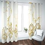 BATOHOME Gardinen Verdunkelnd, Vorhang New York Blickdicht Vintage Blumen Vorhang Mit Volant, Vorhang Für Fenster Zum Einhängen (2PCS x H43 x B108)