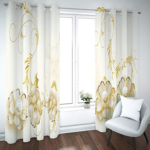 BATOHOME Gardinen Verdunkelnd, Vorhang New York Blickdicht Vintage Blumen Vorhang Mit Volant, Vorhang Für Fenster...