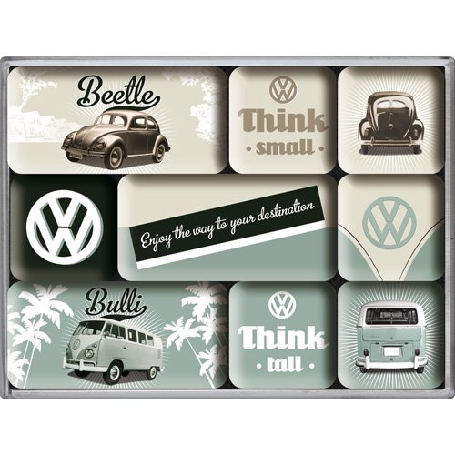 Nostalgic Art Magnet-Set 9-teilig, Volkswagen - Bulli & Beetle - Think Tall & Small