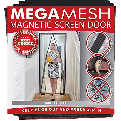 Magnetic Screen Door – Heavy Duty Reinforced Mesh & Full Frame Hook & Loop ACTUAL SCREEN SIZE...