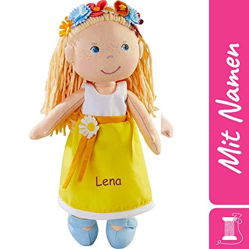HABA Stoffpuppe Wiebke mit Namen Bestickt, weiche Erste Baby Puppe mit Kleidung und Haaren, 0-5 Jahre Kuschelpuppe Taufgeschenk, Anziehpuppe Kuschelpuppe 303664