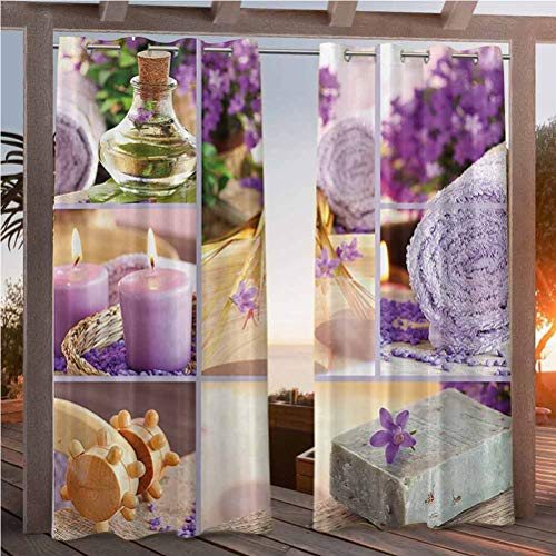96' W by 84' L(K245cm x G214cm) Spa Decor Dustproof Curtains Blackout Patio Outdoor Curtains Lavender Themed Relaxing Joyful Spa Day with Aromatherapy Oils and Candles