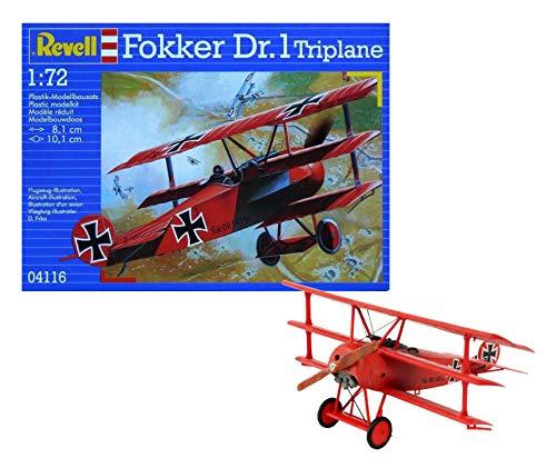 Revell Modellbausatz Flugzeug 1:72 - Fokker Dr.1 Triplane im Maßstab 1:72, Level 4, originalgetreue Nachbildung mit vielen Details, 04116