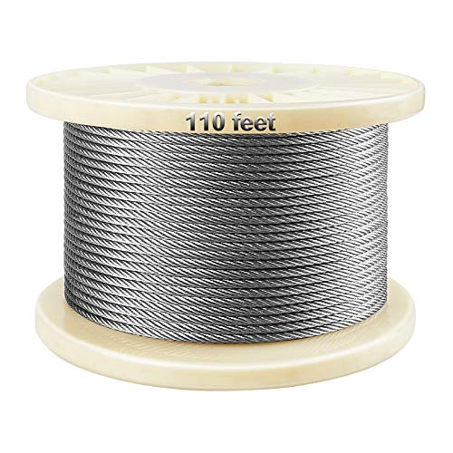100 Feet T316-Stainless Steel 1/8'' Stainless Steel Aircraft Wire Rope Cable for Cable Railing Kit, Deck Stair Railing Hardware DIY Balustrade, 7x7 T316 Marin Grade