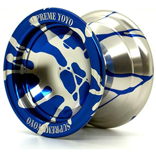 Supreme Yoyo Responsive Aluminum Yoyo Professional Yoyo with Extra Strings (Blue & Silver)