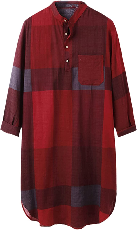Muslim Men Islamic Kaftan Long Sleeve Stand Collar Cotton Plaid Vintage Casual Robes Streetwear Caftan Men Jubba Thobe