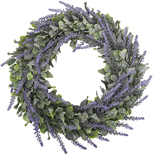 BOMAROLAN Artificial Lavender Wreath Flower 16 Inch Green Leaves Summer Fall Large DIY Wreaths Springtime for Outdoor Front Door Indoor Wall Or Window Décor