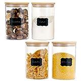 CHARMDI - Contenitori in vetro con coperchi in bambù naturale e anello in silicone, 1178 ml, contenitori per cereali alimentari (set da 4)