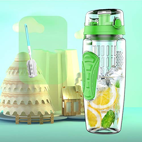 CUPP Wasser Tasse Tritan Anti-Fallen Tasse Obst Tasse Kunststoff Tragbare Weltraum Tasse Tee Tasse Hand Tasse Sport Flasche Fitness Tasse 1000 ML (Farbe : Grün)