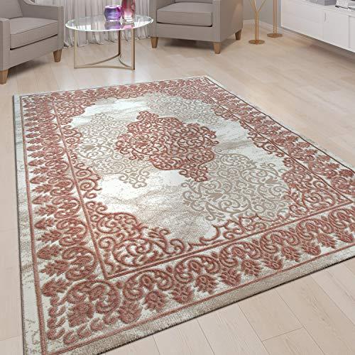 Alfombra Salón Pelo Corto Efecto Tridimensional Diseño Oriental Ornamentos Rosa, tamaño:120x160 cm