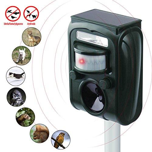 KINGSTAR Animal Solar Repellent Repeller, Ultrasonic Outdoor Cats Dogs Yard Small Animal Repellant Waterproof Animals Scarer Pest Repeller Raccoon Mole Squirrel Motion Activated Garden Repellent