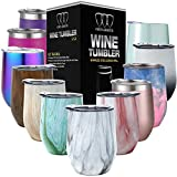 Stainless Steel Wine Glass Tumbler with Lid, 12 oz Double Wall Vacuum Insulated Travel Tumbler Cup, Coffee Water Bottle Cup (Pattern: Carrara Marble)