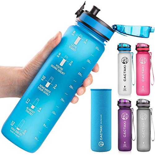 Cactaki 32oz Water Bottle with Time Marker, BPA Free Water Bottle, Non-Toxic, Leakproof, Durable, for Fitness and Outdoor Enthusiasts (Blue)