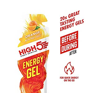 HIGH5 Energy Gel Quick Release Energy On The Go from Natural Fruit Juice (20 x 40g Sachets) (Orange)