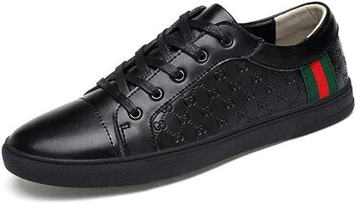 YAXUAN Herren Freizeitschuhe, 2018 Herbst Weiß Schuhe Herren Wild Korean Trend Breathable Schuhe Herren Lace-up Deck Schuhe (Farbe   Schwarz Größe   44)