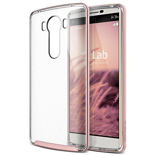 VRS Design® Crystal Hülle Kameraschutz kompatibel mit LG V10 | 2 teilige PC/TPU Silikon Schutzhülle Rose Gold | Transparent Ultra Slim Cover | Schale dünn | Handy Zubehör Back-Hülle Bumper