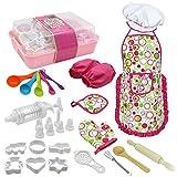 Ruby569y Juego de juguetes de juego de pretender, sombrero de chef para niños, guante de molde de comida, cuchara batidor y juego de herramientas para hornear, multicolor