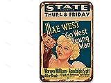 sfasf Go West Young Man (1936), signos de metal de lata con películas vintage, decoración moderna de pared para bar, café y bar, decoración de jardín, cocina, 20 x 30 cm