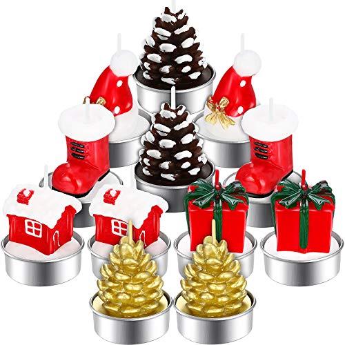 12 Stück Weihnachten Teelicht Kerzen Handgemachte Zarte Weihnachtskerzen Tannenzapfen Weihnachtsmütze Strumpf Haus Box Form Kerze Weihnachten Haus Dekoration Kerzen