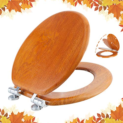 Round Toilet Seat Natural Wooden Toilet Seat with Quietly Close, Quick Release Hinges American Standard, Easy Install, Easy Clean by Angel Shield(Round, Wooden)
