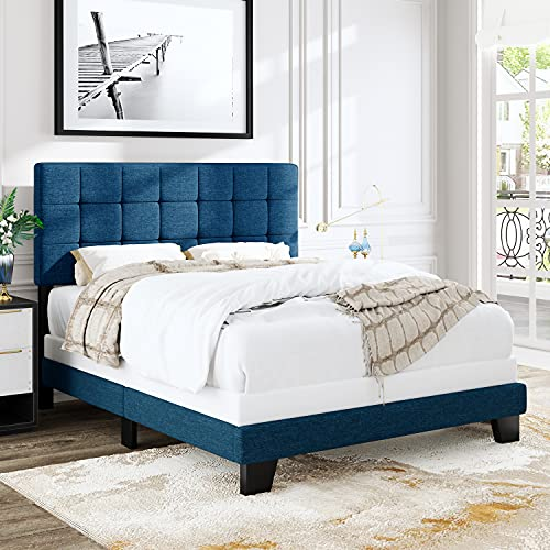 Allewie Queen Size Panel Bed Frame with Adjustable Headboard for High Profile, Fabric Upholstered, Square Stitched Padded Headboard, Box Spring or Bunkie Board Required, Blue
