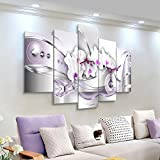 BYSQX 5 Pieces Wall Art Modular DIY Flowers Abstract Orchid Home Kitchen Posters Prints Picture Print On Canvas Canvas Print Modular Painting Poster Wall Stickers Murals Canvas Painting W 200X100CM