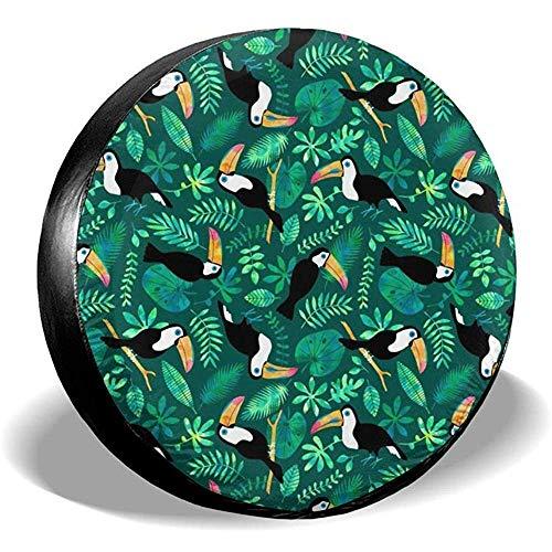 Dem Boswell Reserverad Reifen Abdeckung Tukan Dschungel Aquarell Grün Trinkwasser Polyester Universal Wasserdicht Staubdicht Sonnenschutz Universal Fit