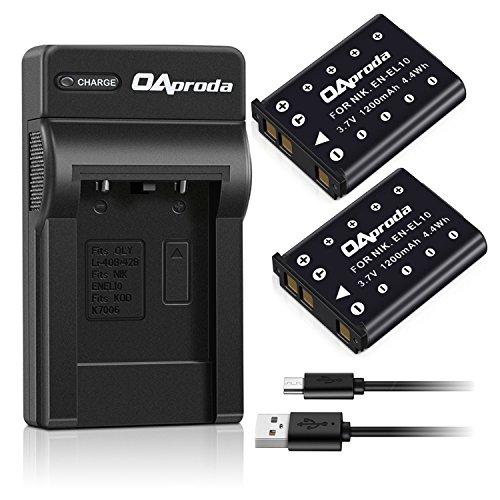 OAproda 2 Pack Replacement Nikon EN-EL10 Battery and USB Charger for Nikon Coolpix S3000, S220, S5100, S4000, S700, S600, S570, S520, S510, S500, S230, S210, S200, S60 Digital Camera, MH-63 Charger