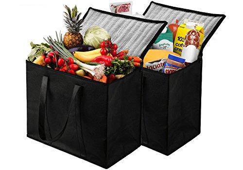 NZ home - XL Lot de 2 sacs à provisions isothermes réutilisables, fermeture éclair robuste, pliable, lavable, très résistant, tient debout, fond et poignées entièrement renforcés Noir