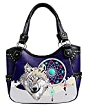 Western Wolf Dream Catcher Embroidery Feather Conceal Carry Women Handbag Purse in 5 colors (Purple)