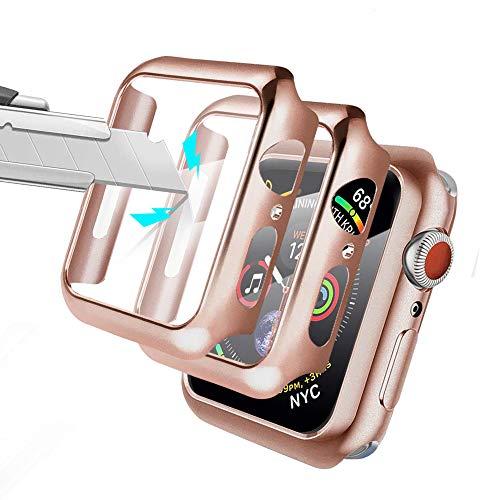 Alinsea [2 Stück für Apple Watch 44mm Hülle mit Panzerglas Displayschutz für iWatch schutzfolie [Wasserdicht] [Blasenfreie] 360°Rundum Schutzhülle Schutz Case für Apple Watch 44mm Serie 5/4 - Pink
