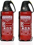 2X 2kg Autofeuerlöscher Qualitäts-Pulverlöscher Feuerlöscher, LKW PKW KFZ DIN EN 3 Manometer...