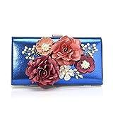 Hojkl - Bolso de mano para mujer, diseño de flores y diamantes de imitación, color azul, tamaño 22 x 5 x 11,5 cm