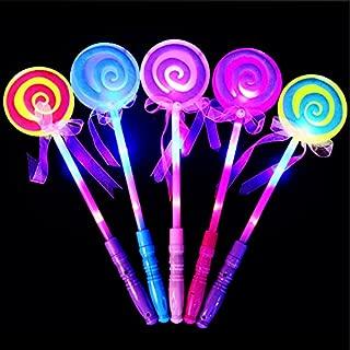 GshoppingLife 8 Pcs Fashion Kids LED Light-Up Toy Lollipop Glow Sticks Girls Princess Flashing Fairy Wand Sticks Birthday Party Dress Decor (100 Pcs)