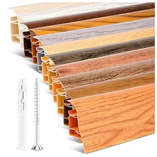 TJ Sockelleisten Außenecke Kiefer hell/PVC Fußleisten/Sockelleisten mit Kabelkanal/Kunststoff Sockelleiste als Robuste Fussleisten