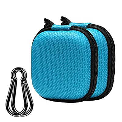 Earphone Case, Music tracker Portable Travel EVA Headphone Storage Bag Earbud & Cell Phone Accessories Organizer Carrying Case Pouch with Carabiner