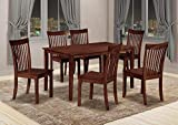 Kings Brand Furniture - Kurmer 7 Pcs Wood Kitchen Dining Table Set. Table & 6 Chairs, Cappuccino