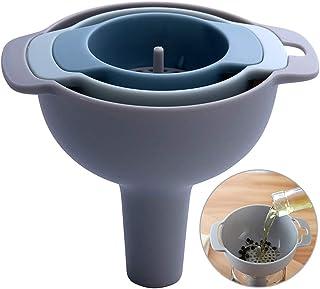 Gurxi 4 Entonnoirs de Cuisine en Plastique avec Filtre Entonnoir en Plastique Alimentaire 4 en 1 Entonnoirs Multifonctions...