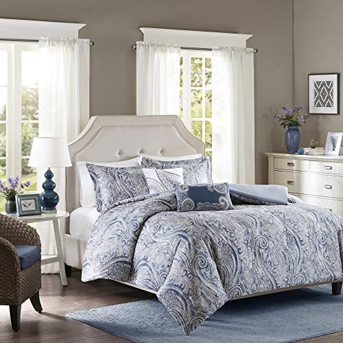 Harbor House Stella Duvet Cover Full/Queen Size - Blue, Paisley Duvet Cover Set – 5 Piece – Cotton Light Weight Bed Comforter Covers, Paisley Blue, Queen(90u0022x90u0022) (HH12-1581)