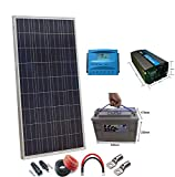 Kit Solar 12v 150W/750W día regulador PWM 20a Batería SP AGM 100Ah 12v Inversor 1000w onda pura con mando de distancia