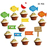 Decoración para cupcakes de Little Fisherman, decoración de fiesta de cumpleaños de pesca, para niños, pequeños pescadores, suministros de fiesta de cumpleaños (20 unidades)