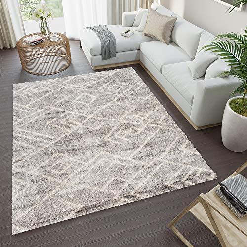 Tapiso Versay Alfombra de Salon Comedor Sala Dormitorio Diseño Moderno Gris Claro Crema Etnico Suave Shaggy 200 x 300 cm