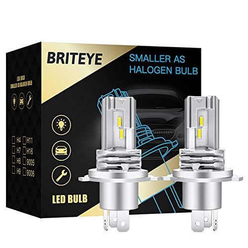 Briteye Lampadine LED H4 6500K Bianca Per 12-24V DC Luci LED Auto Fari Moto Abbagliante Anabbagliante (2 Lampadina)