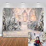 Avezano 2,1 x 1,5 m telón de fondo de invierno para fotografía, árbol de Navidad, copo de nieve, fondo blanco, decoración para baby shower, cumpleaños o fotos