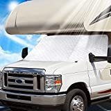 VOGREX RV Windshield Cover Class C Compatible with Ford 1997-2022 RV Front Window Cover RV Motorhome Windshield Cover with Mirror Cutouts, Elastic Corner Bands