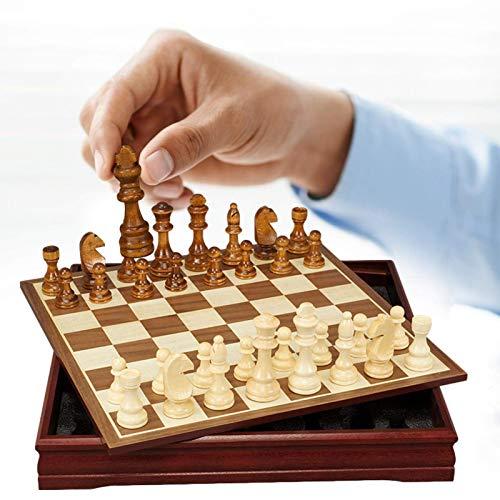 QLKJ Schach Set Tragbare Reise Schachbrett Spiel Handgemachte Holzschachspiel mit Innenraum Lager Elternkind Party Spiel Interaktiv Kinder Erwachsene