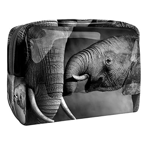 Bolsa de cosméticos para Mujeres Elefante y Elefante bebé Bolsas de Maquillaje espaciosas Neceser de Viaje Organizador de Accesorios